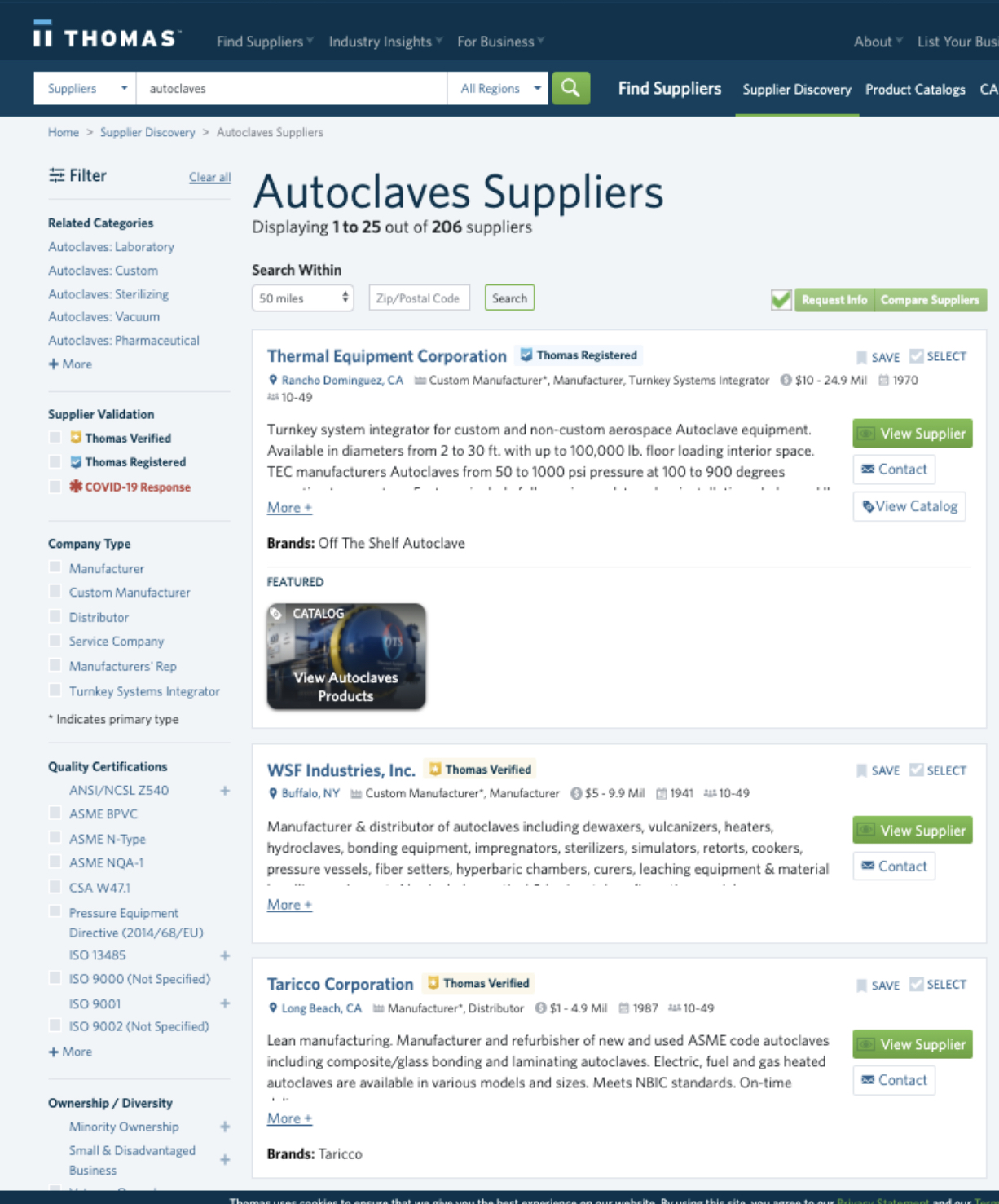 Thomasnet autoclave search results