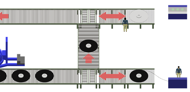 Fig. 5- Pan unload/testing station calling for new pan of cured hose